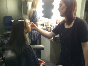 Having my make-up done for the One Show