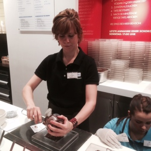My chocolate block being made at the Ritter Sport Factory :)